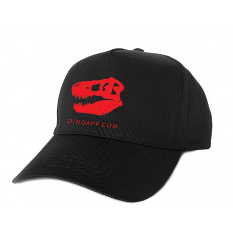 Dinoapp black cap with red skull logo