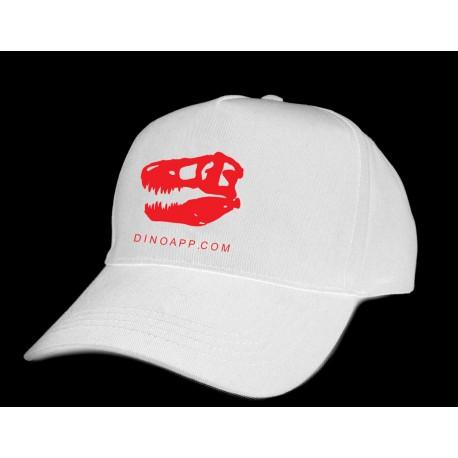 Dinoapp white cap with red skull logo