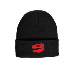 Black Beanie With Red Tyrannosaurus Skull Logo