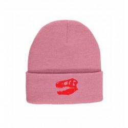 Pink Beanie Red Skull Logo